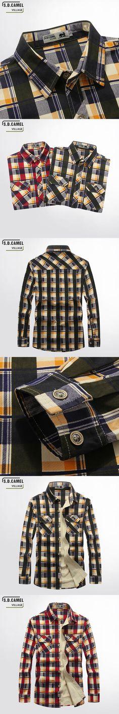 Hot sale Men Shirt Long Sleeve Plaid Slim Fall Business   Shirts100% Cotton Army Men's Dress Shirts men retro style Blouses