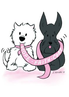 Breast Cancer Awareness Westie and Scottie with ribbon