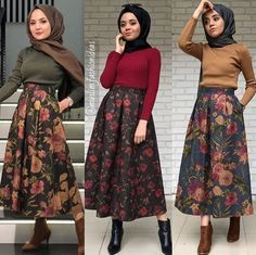 What beautiful skirts Modern Hijab Fashion, Muslim Fashion, Modest Fashion, Skirt Fashion, Fashion Outfits, Modest Dresses, Modest Outfits, Oufits Casual, Casual Hijab Outfit