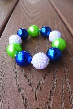 SEAHAWKS 12th Fan Inspired Blue & Green Gameday Bubblegum Bead Chunky Bracelet, White Bling (Adult Size, Regular)