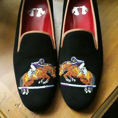 Stearling and Burke LTD Beautiful suede/leather equestrian embroidered loafers. Short stacked heels, red cushioned leather insoles. Never worn. Stearling and Burke LTD  Shoes