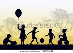 Silhouettes of children playing outside in the grass and trees
