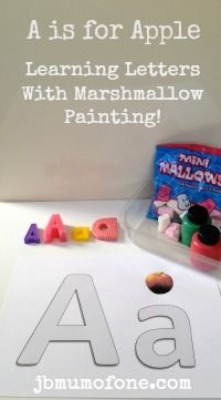 A is for Apple A is for Apple: Learning Letters with Marshmallow Painting! #toddler #literacy #learning