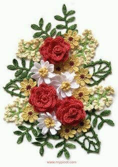 Crochet Flowers Ideas Bouquet ~ crochet A sure way to relax and enjoy crocheting this lovely bouquet of Crochet flowers! Picot Crochet, Beau Crochet, Crochet Motifs, Crochet Flower Patterns, Thread Crochet, Love Crochet, Irish Crochet, Beautiful Crochet, Crochet Designs