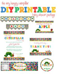 Eric Carle - Hungry Caterpillar baby shower printable party package