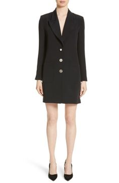 Free shipping and returns on Adam Lippes Satin Crepe Tuxedo Dress at Nordstrom.com. Pre-order this style from the Fall 2017 collection! Limited quantities. Ships as soon as available. You'll be charged only when your item ships.Adam Lippes takes classic tuxedo-blazer styling to a new length with this tailored satin-crepe dress. Combining formalwear polish with playful femininity, it's trimmed in antique pearly buttons and bejeweled embellishments sourced during the designer's Indian t...