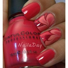 50 Red Nail Art Designs and ideas to express your attitude ❤ liked on Polyvore featuring beauty products, nail care and nail treatments