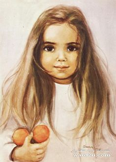 Girl with the tangerines S Girls, Vintage Children, Amazing Art, Childhood Memories, Coloring Pages, Mona Lisa, Orange, Antiques, Drawings