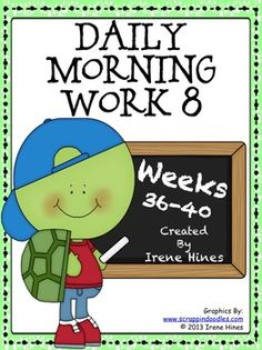 """Daily Morning Work 8: Weeks 36-40. This is the 8th and final set from my morning work activity packs:{Based On Common Core Standards} *Language Arts & Mathematics Skills On Every Page! *Here are another 25 ready-to-use Morning Work Activity Sheets plus 25 teacher answer keys. Perfect for using as a daily language review, minute math, """"Do Now"""" or as extra enrichment for morning work. Each activity is labeled with the week number & day of the week. $"""