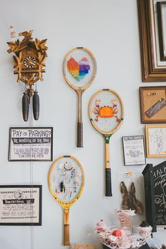 cool idea for cross stitch or embroidery on those rackets - tinkertopia