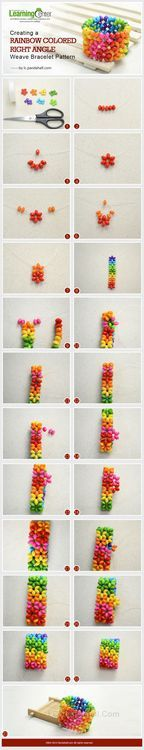 Jewelry Making Tutorial-DIY Rainbow Colored Right Angle Weave Bracelet Pattern | PandaHall Beads Jewelry Blog