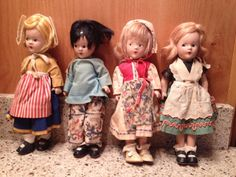 "Vintage Madame Alexander Composition 9"" Country Dolls 1930s Four in Lot #MadameAlexanderDolls #Dolls"