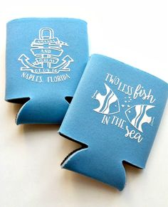 New to SipHipHooray on Etsy: Wedding Koozies Personalized Coozies Koozies Two Less Fish In The Sea Nautical Wedding Koozies  Wedding Favor Custom Wedding Koozies (75.00 USD)