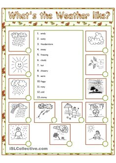 What's the weather like? - English ESL Worksheets for distance learning and physical classrooms Learning English For Kids, English Lessons For Kids, English Fun, Teaching English, Learn English, English Adjectives, English Grammar Worksheets, 1st Grade Worksheets, English Vocabulary