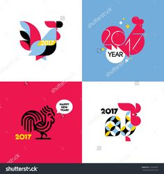 New Year design with silhouette of rooster. Set of modern flat style vector illustrations of cock as symbol of 2017 year on the Chinese calendar. Collection of beautiful roosters - 动物/野生生物,假期 - 站酷海洛创意正版图片,视频,音乐素材交易平台 - Shutterstock中国独家合作伙伴 - 站酷旗下品牌