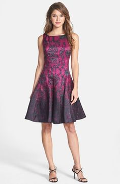 Taylor Dresses Print Shantung Fit & Flare Dress available at #Nordstrom @waresthemore - Sale $70.80 - fabulous dress for a special occasion!