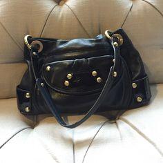 "Soft black leather bag B. Makowsky. Butter soft leather. Gold hardware. Leopard print interior. Gorgeous everyday bag. 13""x 9.5"" x2"". b. makowsky Bags"