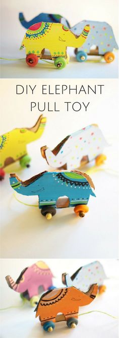 DIY Cardboard Elephant Pull Toy. What a cute idea to have kids make and decorate their own toy. Fun recycled craft for kids with free printable template included.