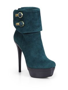 Rachel Zoe Dora Kid Suede Double Platform Ankle Boots in  (teal)