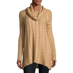 Neiman Marcus Long-Sleeve Cable-Knit Swing Sweater ($41) ❤ liked on Polyvore featuring tops, sweaters, light brown, neiman marcus sweaters, swing sweaters, long sleeve sweater, cable knit cowl neck sweater and chunky cable knit sweater