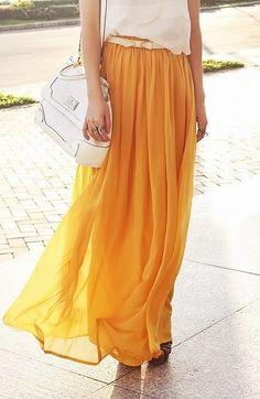 Yellow chiffon skirt.