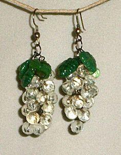Vintage 50s Clear Glass Drippy Grapes Glass Leaves Pierced Earrings | eBay
