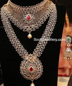 18 carat gold bridal diamond choker paired with diamond haram and diamond jhumkas. Pearl And Diamond Necklace, Diamond Choker, Diamond Jhumkas, Diamond Jewellery, Diamond Pendant, Indian Bridal Jewelry Sets, Wedding Jewelry, Bridal Jewellery, Bling Bling