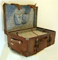 large leather antique vintage suitcase luggage travel trunk box