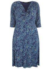 Scarlett & Jo bedrucktes Kleid mit Wasserfallausschnitt, Blau