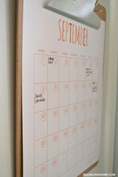 calendar printable. Great for staying organized. Add it to your family command center!