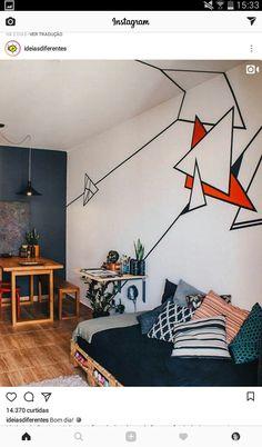 Tape art on the walls and ceiling Tape Art, Bedroom Wall, Bedroom Decor, Bedroom Ideas, Teen Bedroom, Futon Bedroom, Bedroom Colors, Pallet Furniture, Furniture Plans