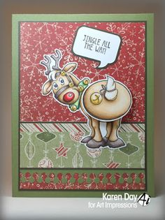 Art Impressions Rubber Stamps: Jingle Set (Sku #4681) Ai Shakers ... handmade Christmas holiday card. deer, reindeer, rudolph
