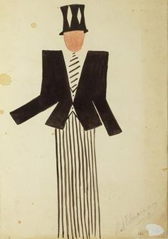 1923 Sonia Delaunay costume design for René Crevel, French poet, in the surrealist theatre piece 'Le coeur & Gaz' by Tristan Tzara. Sonia Delaunay, Robert Delaunay, Tristan Tzara, Piet Mondrian, Klimt, Matisse, Graphic Design Illustration, Illustration Art, Hans Richter