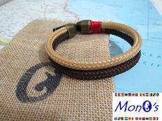 Bracciale con chiusura in Zamak Marrone e beige - Men's nautical bracelet with zama clasp