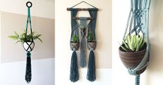 All plant hangers are handmade by me, using wool or cotton yarn, thriftshop pots and some other things like parts of an old weaving loom.
