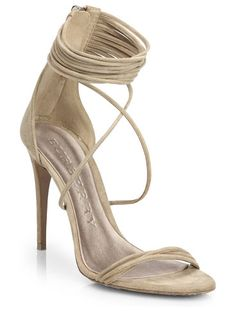 Strappy suede sandals offering uncompromising sexiness.