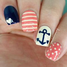 """Nautical mix n' match Full video for the anchor is on my YouTube channel- link in bio! - - Products used: Nude: """"Coconut"""" Fresh Paint Navy: """"Urban"""" Revlon Peach: """"Tart Deco"""" Essie Top coat: HK girl @glistenandglow1"""