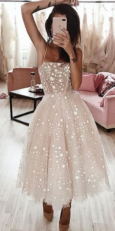 A Line Spaghetti Straps Tea Length Pearl Pink Prom Homecoming Dress With Beading. - A Line Spaghetti Straps Tea Length Pearl Pink Prom Homecoming Dress With Beading – New Ideas Source by herterpere - Light Pink Homecoming Dresses, Pink Prom Dresses, A Line Prom Dresses, Tulle Prom Dress, Prom Gowns, Light Pink Dresses, Princess Dresses, Dresses Dresses, Casual Dresses