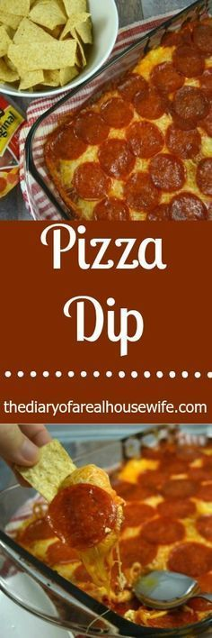 This is the BEST dip recipe!!! I loved it. Pizza Dip. Loaded with creamy cheese and topped with pepperoni. TRY IT!