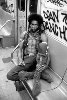 The Warriors Cochise relaxing but ready for action. I presently own the bottom half of his outfit which includes the pants, belt and boots shown in the photo. Warrior Movie, Films Cinema, Film Serie, Film Music Books, Black White, Black Art, Mode Style, Ny Style, Wild Style