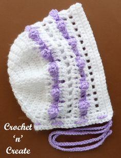 crochet popcorn baby bonnet
