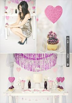 heart cupcake topper + glittery dress! | CHECK OUT MORE IDEAS AT WEDDINGPINS.NET | #weddings #engagements #inspirational