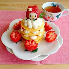 My Melody strawberry pancake breakfast!