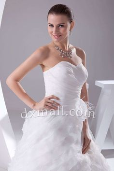 Pick Up Wedding Dresses Sweetheart Court Train Organza Satin White 010010900255