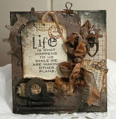 Anne's paper fun: Life is what happens to us. Opens to beautiful colors & Bon Voyage! Altered Canvas, Altered Art, Steampunk Crafts, Steampunk Design, Grunge, Life Is What Happens, Decoupage, Card Tags, Men's Cards