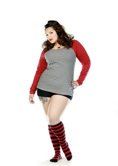 Domino Dollhouse - Plus Size Clothing: Candy Striper Socks in Red/Black