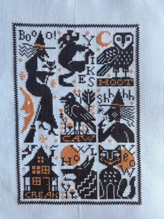 completed cross stitch Prairie Schooler Crows October witches NEW design