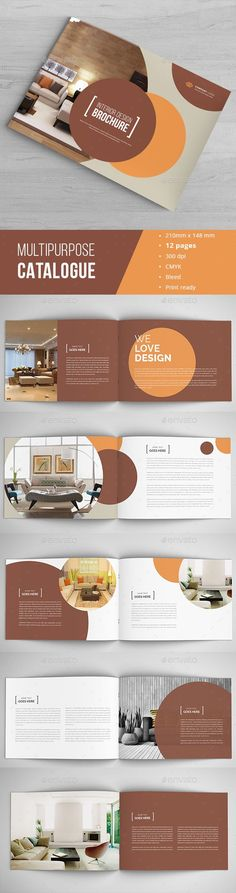 Design book, ebook interior or layout Brochure template - interior design brochure template