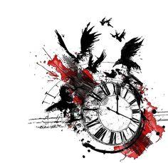 Raven Crow Clock Trash Polka