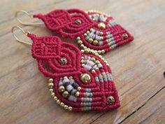 Red Earrings, micro macrame earrings, hoop earrings for women. copper beads, handmade, dangle beaded earrings, great gift by AdiVardiJewelry on Etsy